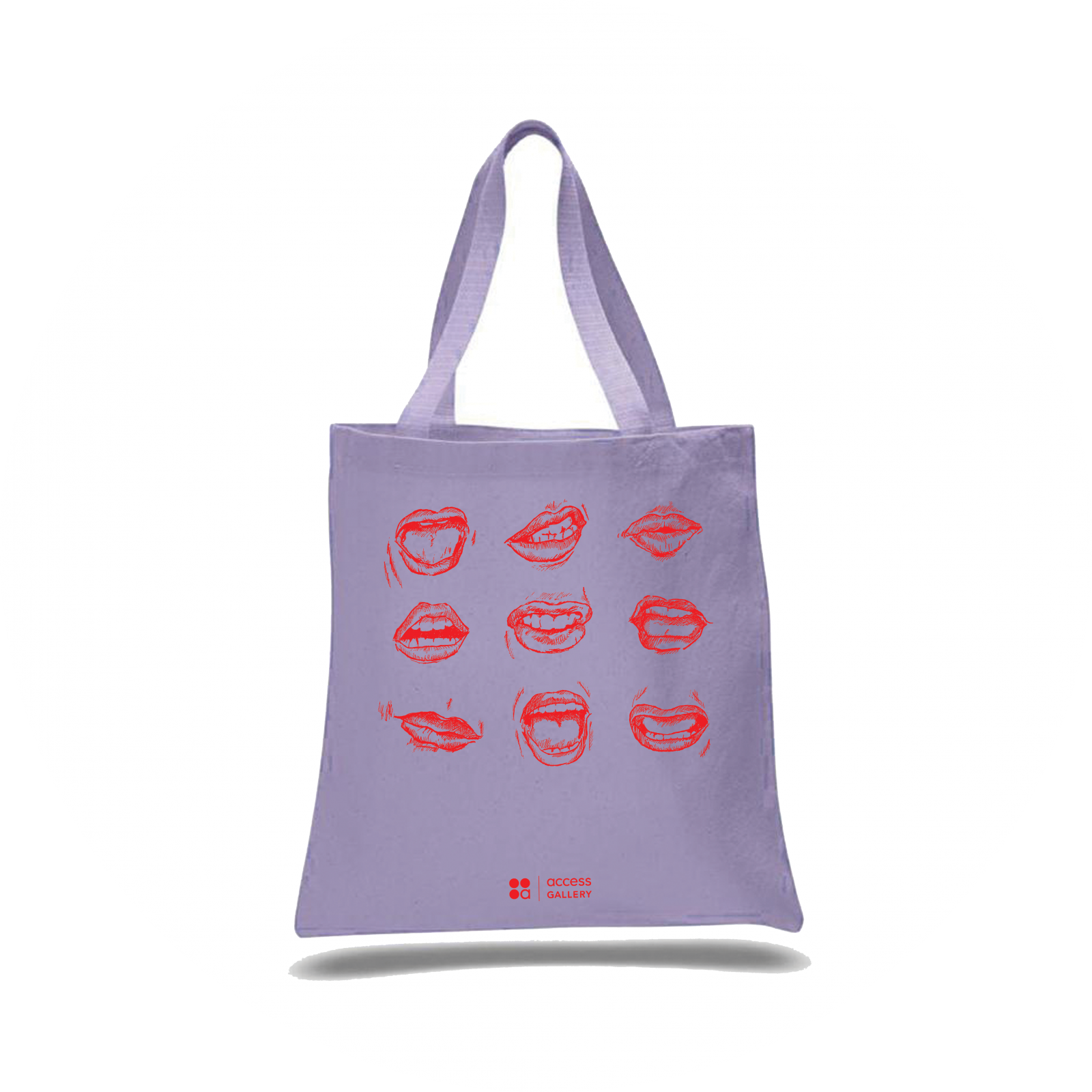 lavender tote bag with screen print of nine mouths in red