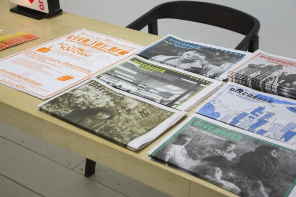 Publications spread out on a table