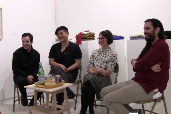 Artists Erdem Taşdelen, Vanessa Kwan, and Raymond Boisjoly in conversation with Access Director/Curator Kimberly Phillips, as part of the programming for Far Away So Close, Part I: Sarah Stein with Hyemin Kim, Erdem Taşdelen, Jim Verburg, Nicole Kelly Westman, Hyung-Min Yoon