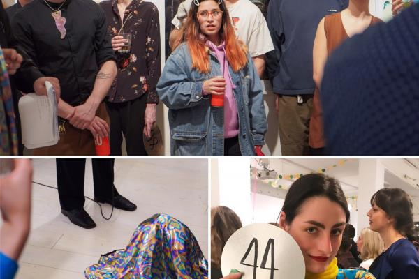a trio of photos featuring a group of people with confused expressions, a fabric covered amorphous shape on the ground, and a person holding up a bidding number.