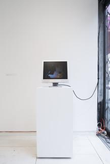 Jennifer Juba, To The Willing Participants Of the Panoptican, live feed video surveillance with delay, 2015. Access Gallery and Avenue.