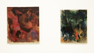 two oil paintings, one in red tones and one in green tones