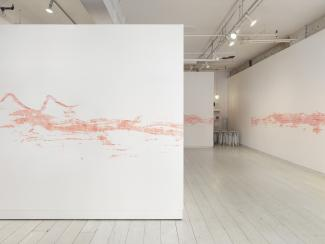 installation view of a long stencilled drawing in pink chalk