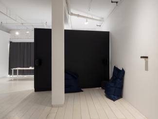 a view of a listening space in the gallery