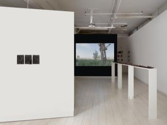installation view featuring a long narrow shelf topped with steel plates, a video on a dark wall, and small works on paper on a wall