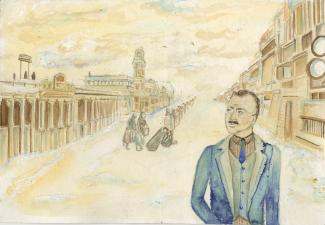 Watercolour painting of a man in an old school city square.