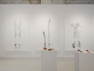Installation view featuring three large drawings and two plinths displaying unglazed ceramic forms.