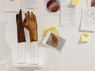 research material on a wall featuring sticky notes, drawings, photos, and sculptures of gloves propped on bottles
