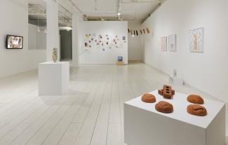 installation view of a gallery including video, ceramic, installation, and photographs