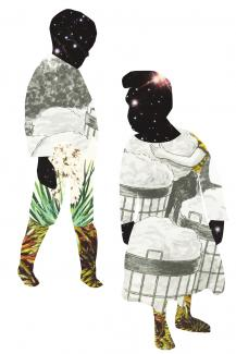 two figures collaged from various imagery, their faces made of galaxies