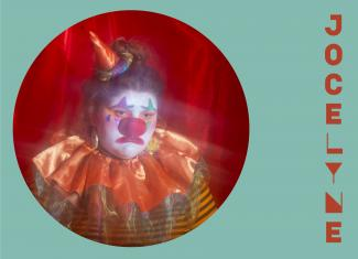 Circular image of Jocelyne dressed as a sad clown, placed in an aqua background with her stylized name in burnt orange to the right.