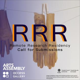 Image of gloves made of cellulose hanging on a laundry-line, overlaid with a violet gradient, and text that reads: Remote Research Residency Call for Submissions, along with organizational and funders logos and image credit